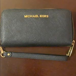 Michael Kors Black / Gold wallet wristlet